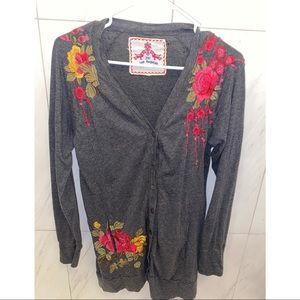 Johnny Was Grey Embroidered Cardigan